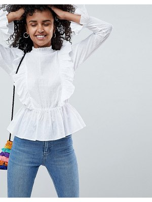 ASOS DESIGN victoriana top with ruffle detail