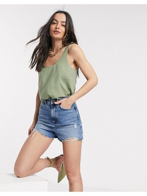 ASOS DESIGN viscose scoop neck tank in khaki-green