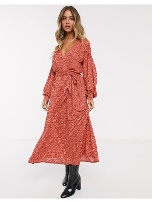 ASOS DESIGN wrap midi dress with belt in red ditsy-multi