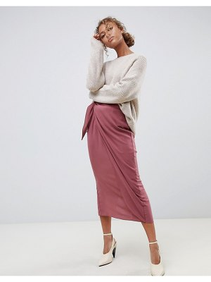 ASOS DESIGN wrap midi skirt with tie front-pink