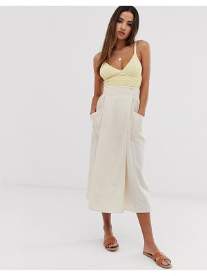ASOS DESIGN wrap midi skirt with tie side and pockets-beige