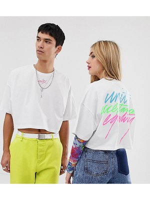 ASOS DESIGN x glaad & unisex cropped t-shirt with embroidery-white
