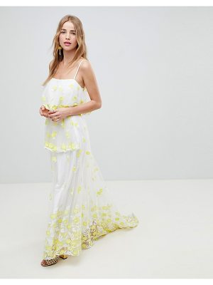 ASOS DESIGN yellow floral embroidered lace maxi skirt two-piece
