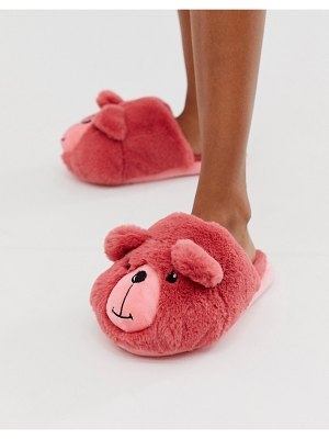 ASOS DESIGN zachary teddy slippers in pink