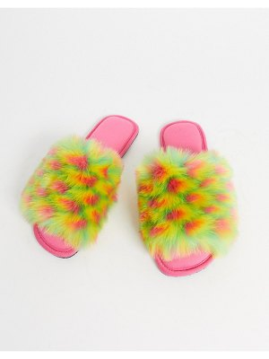 ASOS DESIGN zazzy faux fur slippers in multi