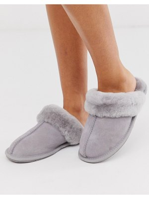 ASOS DESIGN zella premium sheepskin slippers in pale gray