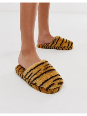 ASOS DESIGN zingy fur slippers in tiger-multi