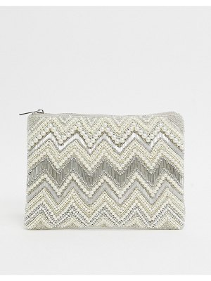 ASOS DESIGN zip top clutch with beading-cream