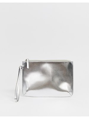 ASOS DESIGN zip top wristlet clutch bag in metallic