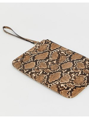 ASOS DESIGN zip top wristlet clutch bag in snake