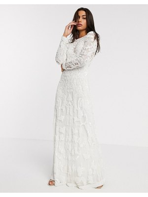 ASOS Edition alice beaded placement wedding dress-white