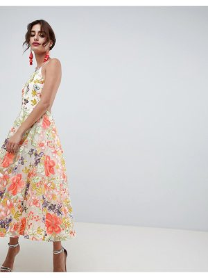 ASOS Edition ASOS EDITION Floral Embroidered Halter Prom Midi Dress