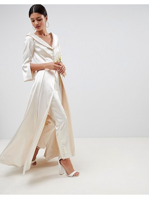ASOS Edition asos edition wedding satin off the shoulder full length jacket and tapered pants