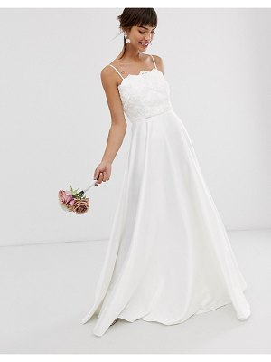 ASOS Edition beaded lace cami wedding dress with satin skirt-white
