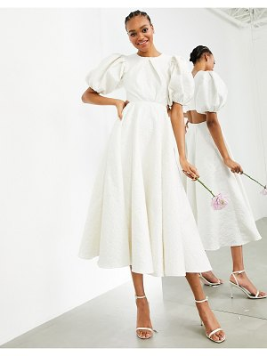 ASOS Edition bridget jacquard puff sleeve wedding dress with cut out back-white