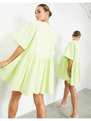 ASOS Edition broderie mini smock dress in lime-green