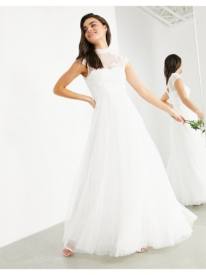 ASOS Edition bronte embroidered bodice wedding dress with cap sleeve-white