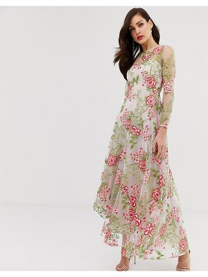 ASOS Edition cutabout maxi dress in red embroidered floral-multi
