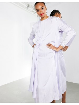 ASOS Edition drape front crinkle satin midi dress in washed lilac-purple