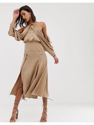 ASOS Edition drape sleeve midi dress with ring detail in satin