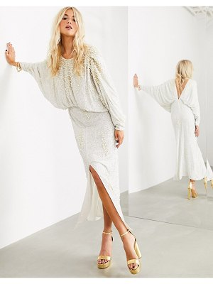 ASOS Edition embellished pearl batwing sleeve maxi dress-white