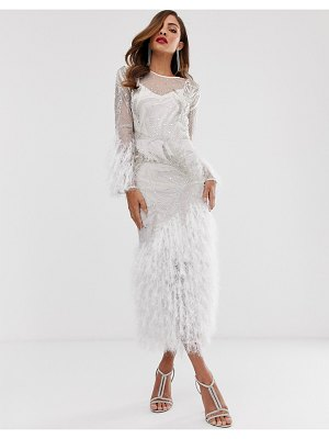 ASOS Edition embellished showgirl midi dress with faux feathers-white