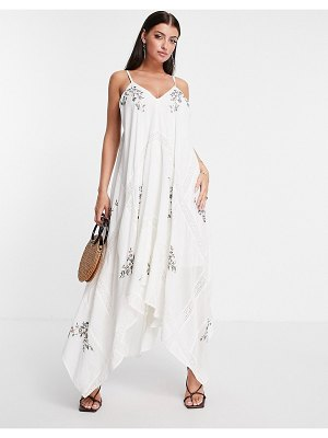 ASOS Edition embroidered cami midi dress with lace detail in white