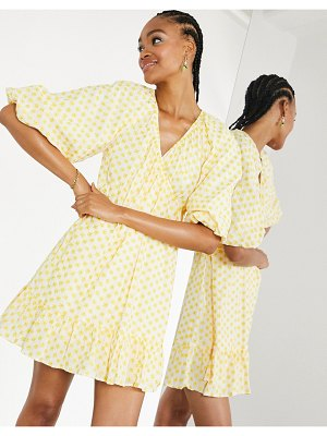 ASOS Edition embroidered daisy cotton wrap mini dress in ivory and yellow