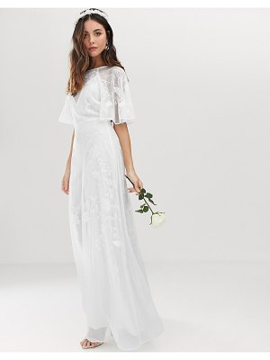 ASOS Edition embroidered flutter sleeve wedding dress-white