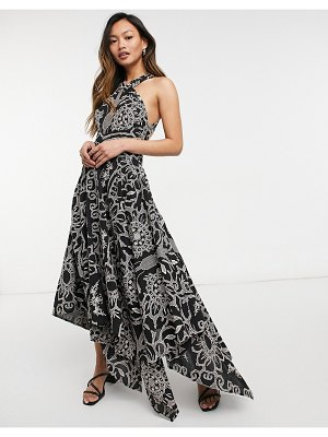 ASOS Edition embroidered halter midi dress with cutout sides in black
