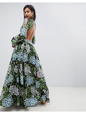 ASOS Edition embroidered maxi with blouson sleeve & open back