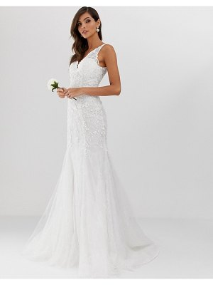 ASOS Edition embroidered mesh over lace fishtail wedding dress