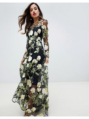 ASOS Edition floral embroidered maxi dress with cutabout skirt