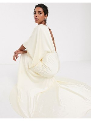 ASOS Edition kimono plunge back maxi wedding dress-white