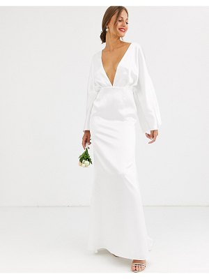 ASOS Edition kimono sleeve wedding dress in satin-white