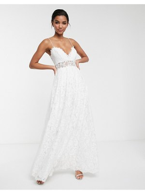 ASOS Edition lace cami wedding dress with full skirt-white