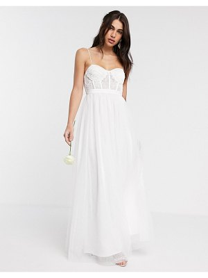 ASOS Edition louisa lace corset wedding dress with mesh skirt-white