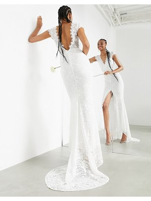 ASOS Edition madeline cap sleeve lace wedding dress with fishtail-white