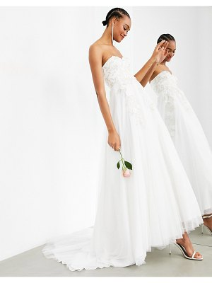 ASOS Edition matilda bandeau wedding dress with full skirt and floral embroidery-white