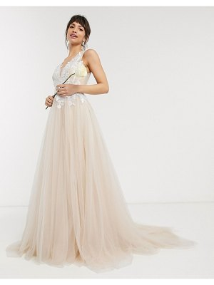 ASOS Edition mesh wedding dress with embroidered bodice-white