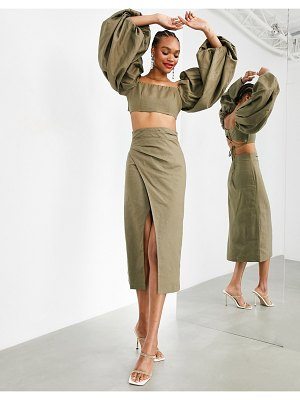 ASOS Edition midaxi skirt with thigh split two-piece-green