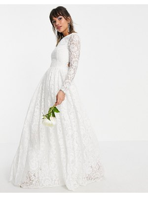 ASOS Edition odette lace long sleeve wedding dress with open back-white