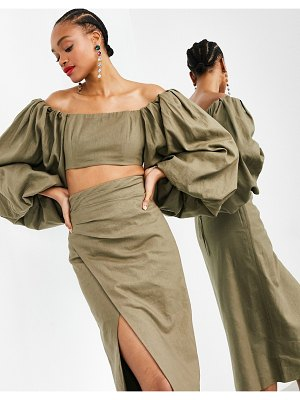 ASOS Edition off shoulder crop top with exaggerated sleeve two-piece-green