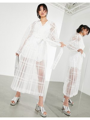ASOS Edition organza plaid trench coat in white