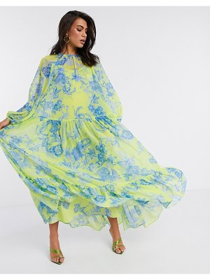 ASOS Edition oversized maxi dress in phoenix floral print-yellow