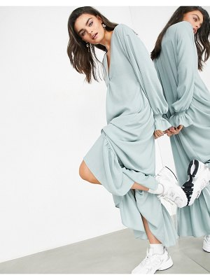 ASOS Edition oversized midi dress with tiered hem in dusky blue-blues