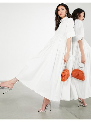 ASOS Edition oversized tiered shirt dress in white