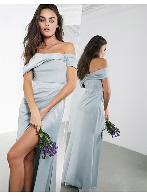 ASOS Edition satin bardot drape wrap maxi dress in ice blue-blues