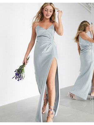 ASOS Edition satin cami maxi dress with drape detail in ice blue