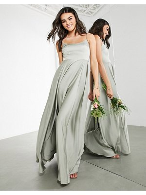 ASOS Edition satin cami maxi dress with square neck in sage green